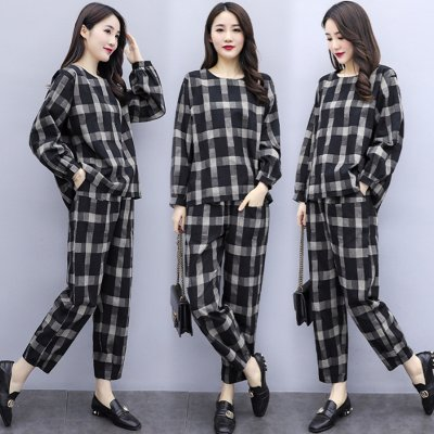 Tops Pants Women Large Size Loose Plaid Printing Long Sleeve Shirt + Pants Set black_M