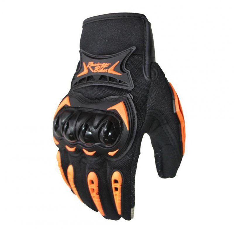 Touch Screen Full Finger Racing Motorcycle Gloves Bike Gloves Touch screen orange_M