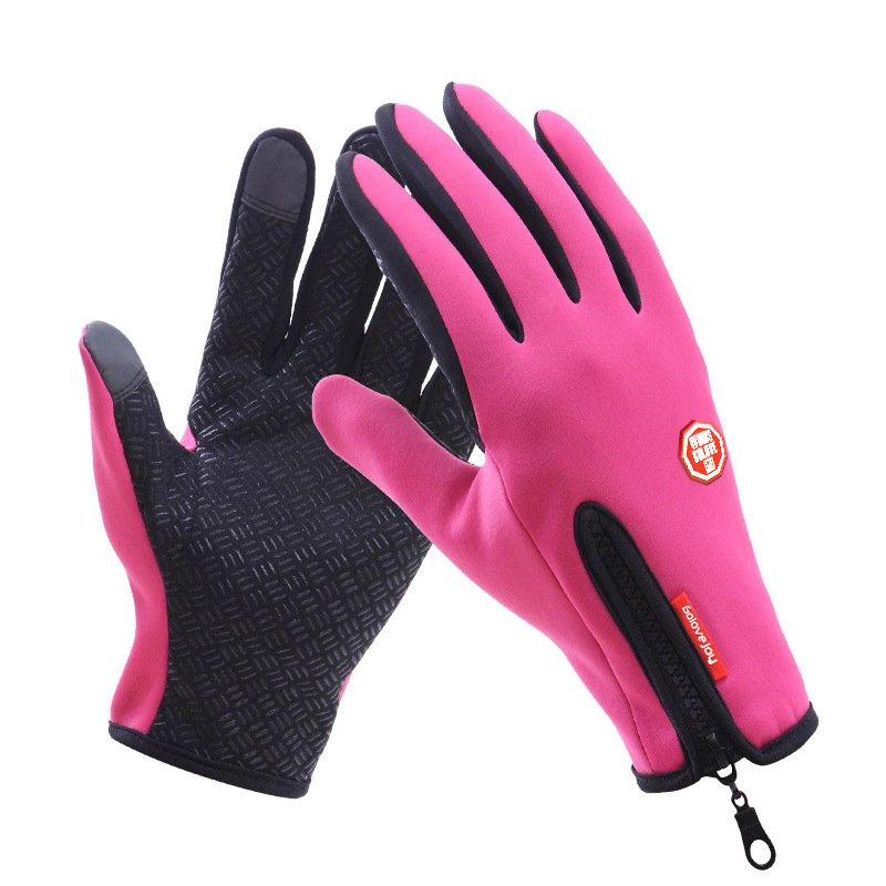 Touch Screen Full Finger Winter Sport Windstopper Ski Gloves Warm Riding Glove Motorcycle Gloves  pink_XL