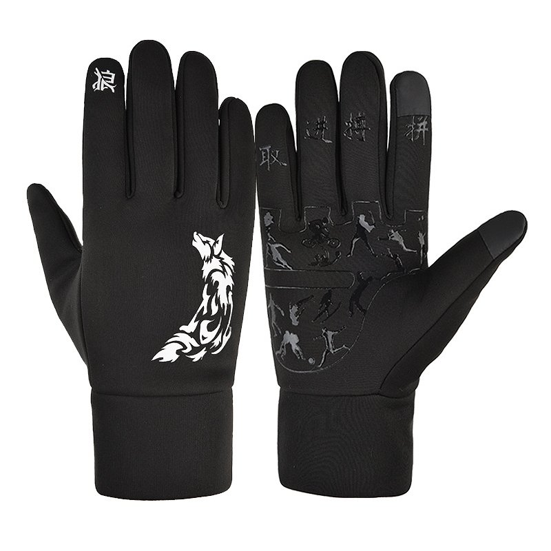 Touch Screen Gloves Winter Waterproof Warm Keeping Cold Proof Windproof Thickening Riding Outdoor Ski Gloves Wolf pattern_M