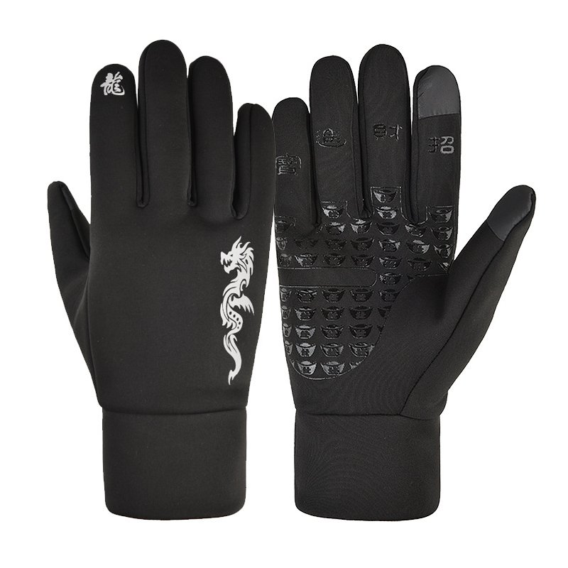 Touch Screen Gloves Winter Waterproof Warm Keeping Cold Proof Windproof Thickening Riding Outdoor Ski Gloves Dragon pattern_M