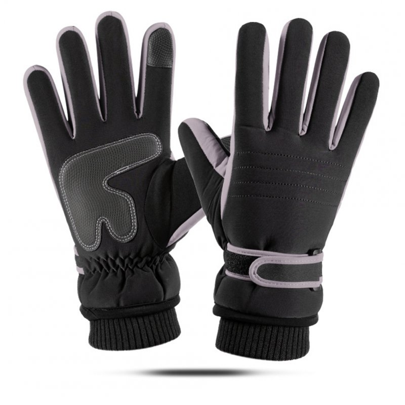 Touch Screen Outdoor Sports Ski Riding Bike Gloves Winter Waterproof Cycling Full Finger Warm Pigskin Gloves  gray_One size