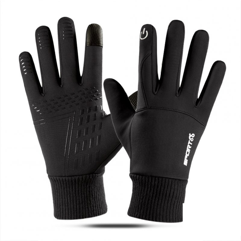Touch Screen Running Gloves Lightweight Non-slip Warm Villus Gloves Men Women Waterproof Motorcycle Gloves black_One size