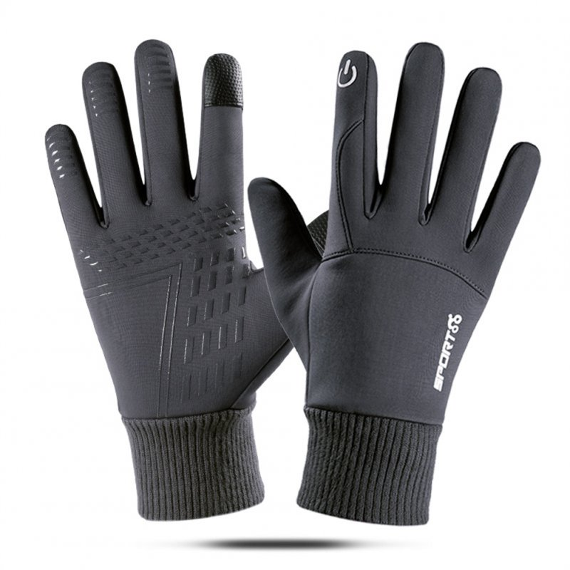 Touch Screen Running Gloves Lightweight Non-slip Warm Villus Gloves Men Women Waterproof Motorcycle Gloves gray_One size