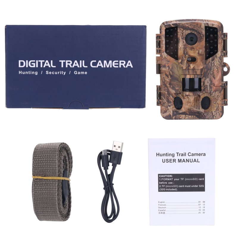 Trail Camera 1080P 32pcs Infrared LEDs Camera IP66 Waterproof Wild Camera Camouflage