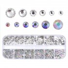 Transparent AB Color Nail Art Crystal Flat Bottom Multi-size Manicure 3D Decor Tool for DIY Nail Art As shown
