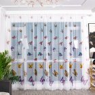 Transparent Color Butterflies Printing Tulle Window Curtain Purple_1*2.7 meters high