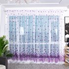 Transparent Sheer Window Panel Curtains with  Flower Print for Living Room Bedroom Kitchen purple_W 100cm * H 200cm