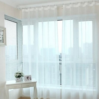 Transparent Voile Partition Curtain Tulle Curtains for Living Room Balcony  Bedroom White 1*2 Meter