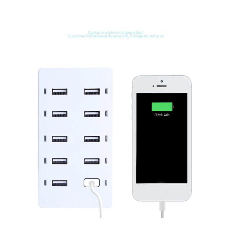 Travel Charger 10-Port USB Charging Devices Smart Detect Fast Charge Compatible for iPhone Galaxy iPad Tablet  White British regulations