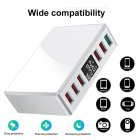 Travel Charger 6-USB Port Digital Display Extended Socket QC 3.0 Fast Charge Station Multi-Port USB Charging Plug AU Plug
