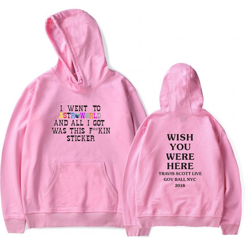 Travis Scotts ASTROWORLD Long Sleeve Printing Hoodie Casual Loose Tops Hooded Sweater A pink_S