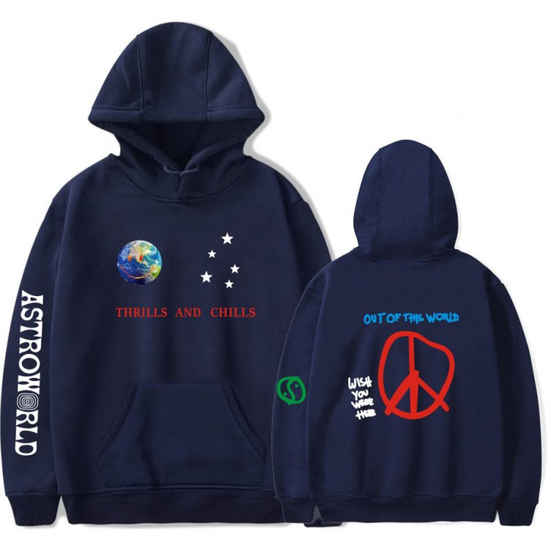 Travis Scotts ASTROWORLD Long Sleeve Printing Hoodie Casual Loose Tops Hooded Sweater E Navy_L