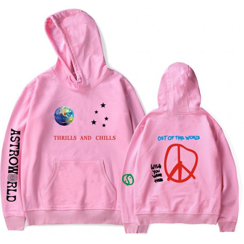 Travis Scotts ASTROWORLD Long Sleeve Printing Hoodie Casual Loose Tops Hooded Sweater E pink_L