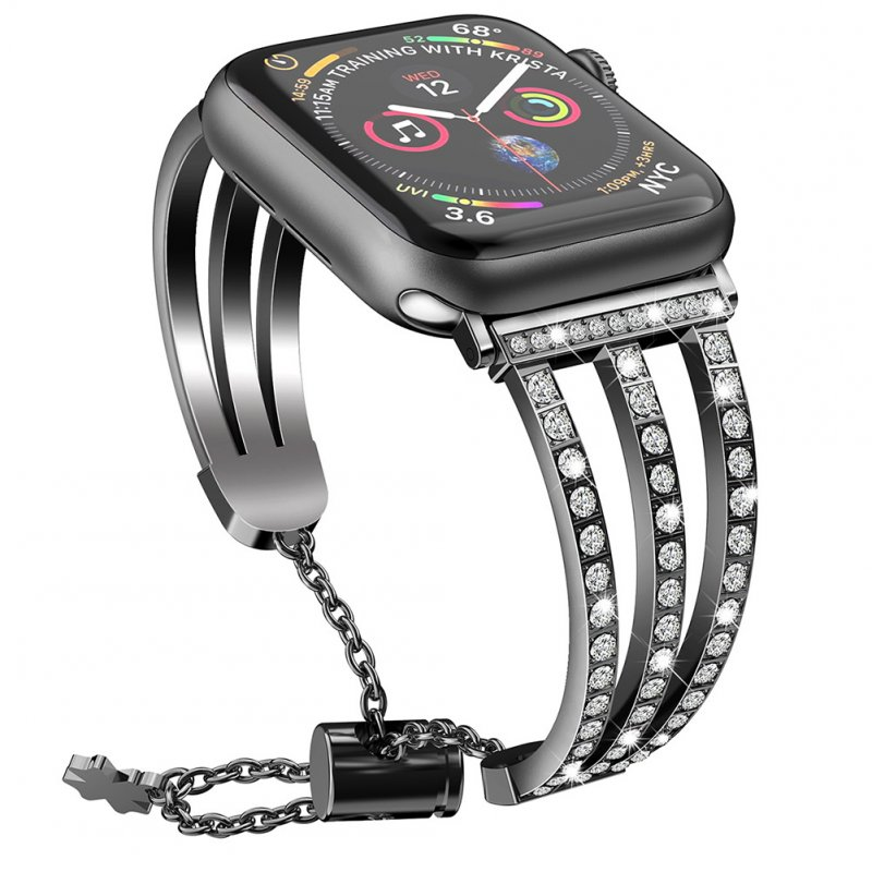 Treble Diamante Metal Watch Strap for apple iwatch1/2/3/4 Generations Black 42/44MM