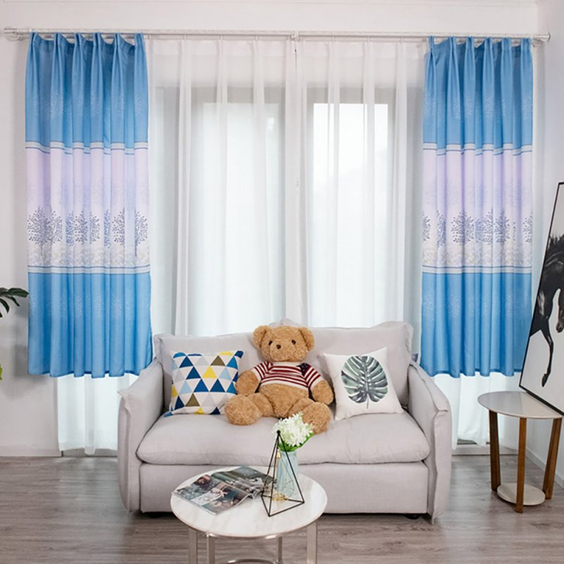 Tree Printing Curtains for Window Drapes Modern Shade Curtain for Living Room Bedroom blue_1 * 2m high hook