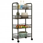 Trolley Storage Rack Removable Shelf for Living Room Bedroom Kitchen Bathroom black_Four layers