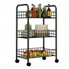 Trolley Storage Rack Removable Shelf for Living Room Bedroom Kitchen Bathroom black_Three layers