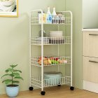 Trolley Storage Rack Removable Shelf for Living Room Bedroom Kitchen Bathroom white_Four layers