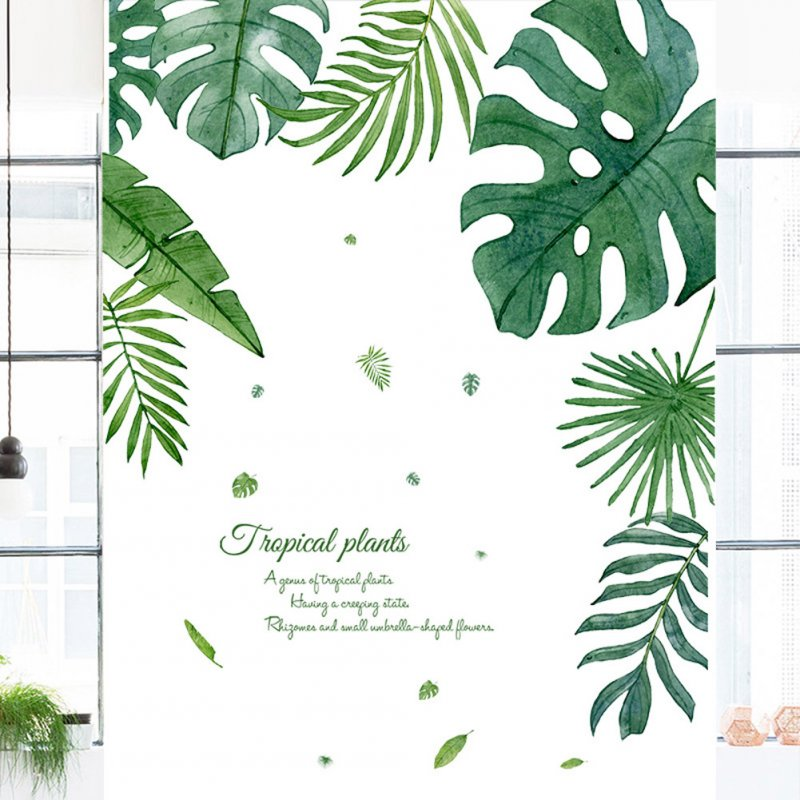Tropical Leaves Plant Wall Stickers Decal Decor Art Mural for Living Room Bedroom 30*90CM