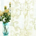 Tulle Curtain with Phoenix Tail Embroidery for Home Living Room Bedroom Shading Yellow (Anemone-Gauze)_W100cm * H250cm