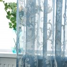 Tulle Embroidered Curtain for Kitchen Living Room Bedroom Window Treatment Panel Blue (hook)_1 * 2.5 meters high