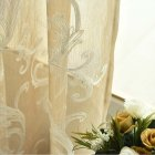 Tulle Embroidered Curtain for Kitchen Living Room Bedroom Window Treatment Panel Brown  Hook  1   2 5 meters high