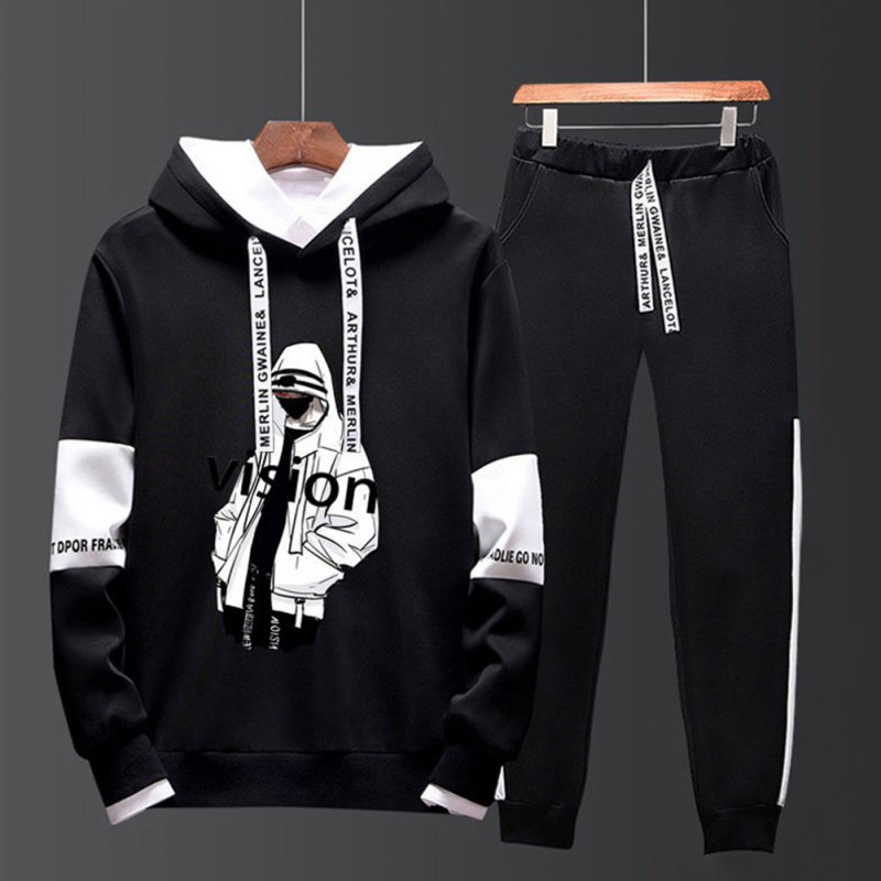 Two-piece Sweater Suits Long Sleeves Hoodie+Drawstring Pants Sports Wear for Man 1#_XXL