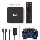 Tx9s Media  Player Abs Material Android Smart Network Tv Box With Remote Control 2+8G_Australian Standard+I8 Keyboard