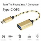 Type-C Interface Card Reader USB3.1 Mobile Phone Memory Card OTG Adapter USB 2.0 A Female to Type-C Male Cable Gold