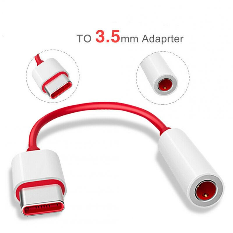 Type C Male To 3.5mm Earphone Headset Jack Adapter Aux Audio Cable Converter red