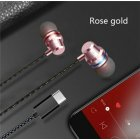 Type C Plug Ear Earphone Headset Headphone Earbuds for Huawei P20 pro HTC Nexus Rose gold