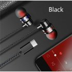 Type C Plug Ear Earphone Headset Headphone Earbuds for Huawei P20 pro HTC Nexus black