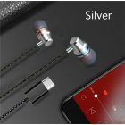 Type C Plug Ear Earphone Headset Headphone Earbuds for Huawei P20 pro HTC Nexus Silver