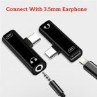 Type C USB C to 3.5mm Aux Audio Cable Earphone External Microphone Audio Jack Headphone Mic Adapter  Black