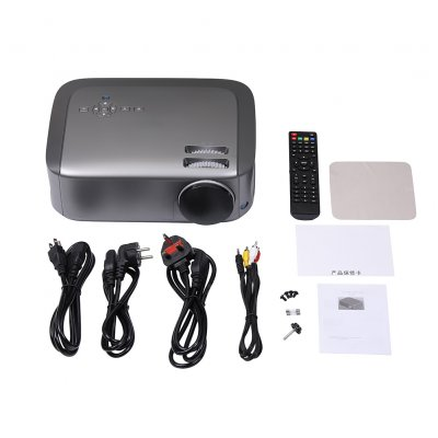 U68 Smart Projector LCD Video Portable Home Movie Theater 20000hrs LED Lamp Life 2HDMI AV VGA 2USB Interface Matte gray_British regulations