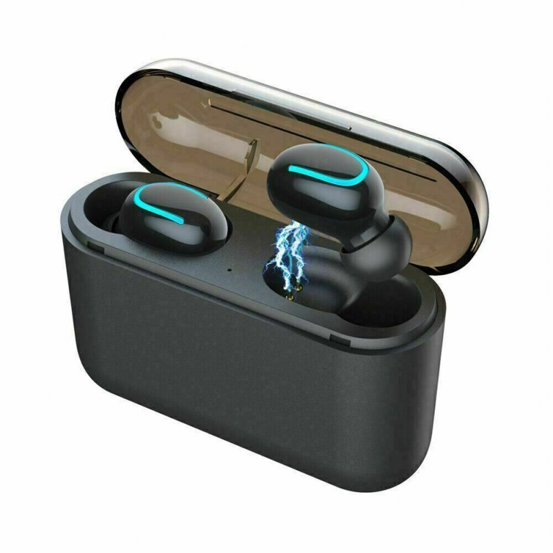 U8S Wireless Bluetooth 5.0 Headphone TWS Sports Earphone with Charging Box Portable black
