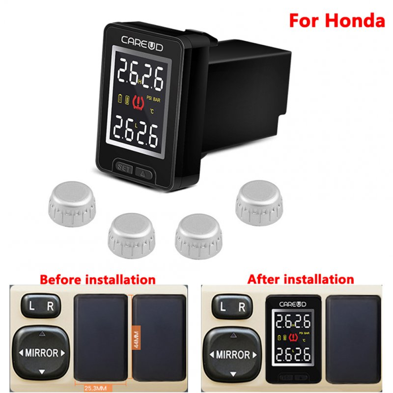 U912- WF Car TPMS Auto Wireless Tire Pressure Monitoring System 4 External Sensors LCD Display Embedded Monitor for HONDA black