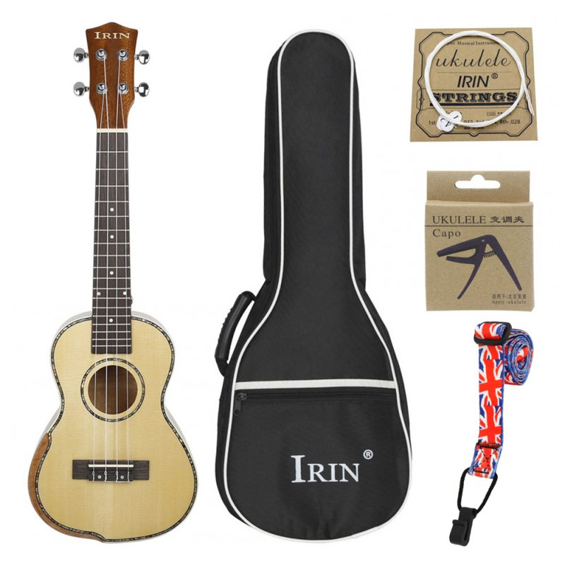 UK2385 23inch Concert Ukulele Spruce Acacia Panel Classical Ukelele Guitar with Bag String Capo Strap Wood color
