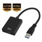 USB 3.0 to HDMI HD 1080P Video Cable Adapter with Audio Output for Windows XP / 10 / 8.1 / 8 / 7 [ NO MAC & VISTA ]  black