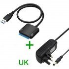USB 3.0 to Sata Adapter USB3.0 Cable Converter Hard Drive Cable +12v 2A AC Power Adapter UK Plug