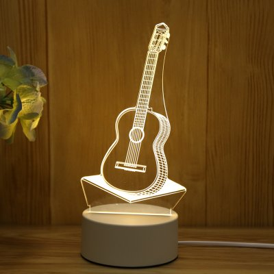 USB 3D LED Night Light Table Lamp for Home Bedroom Decor Warm Light usb