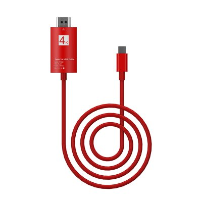 USB-C Support 4K 30Hz USB 3.1 Type-c Male to HDMI Male HD Adapter Connecting Cable  red