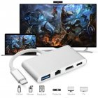 USB C to HDMI 4K+ RJ45 Gigabit Ethernet+ USB 3.1 Type C Hub Adapte  Silver