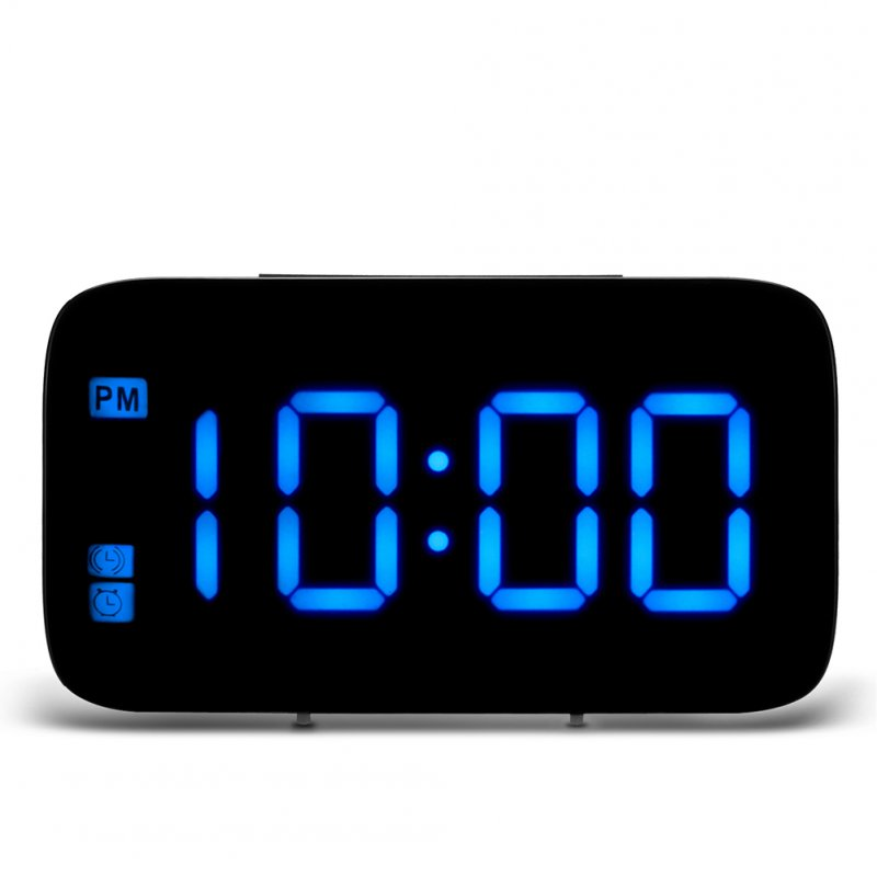 USB Charging Digital LED Display Alarm Clock with Voice Control  blue