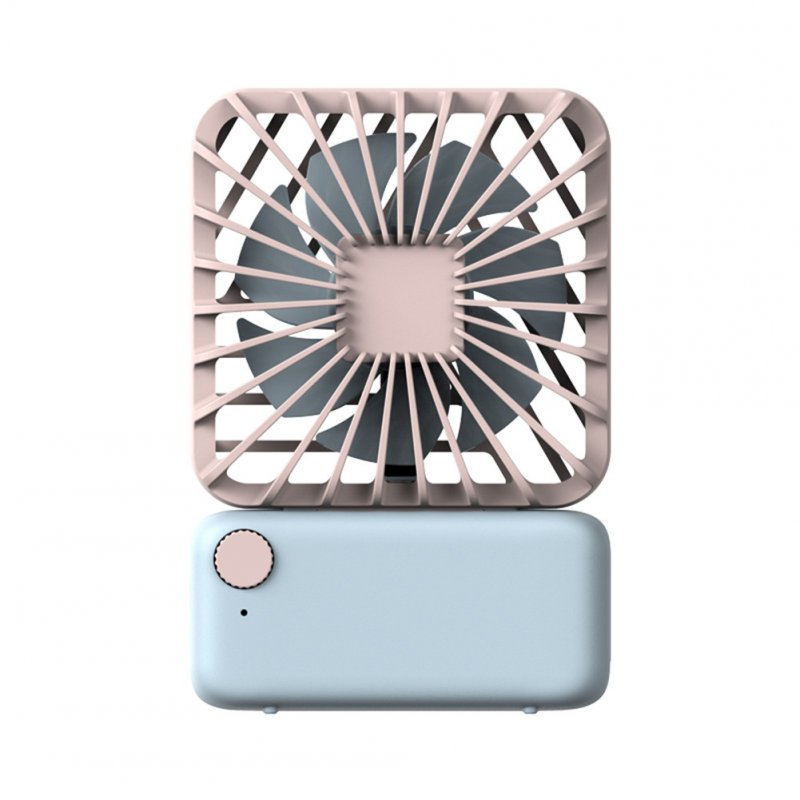 USB Charging Fan Square Small Fan Mini Mute Cute Handheld Portable Hanging Neck Electric Fan Sky blue