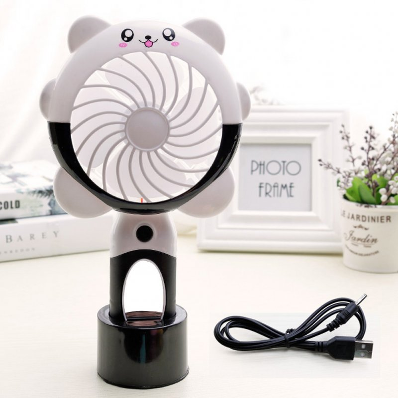 USB Charging Silent Small Fan Portable Handheld Fan for Home Office Student Dormitory Black and white