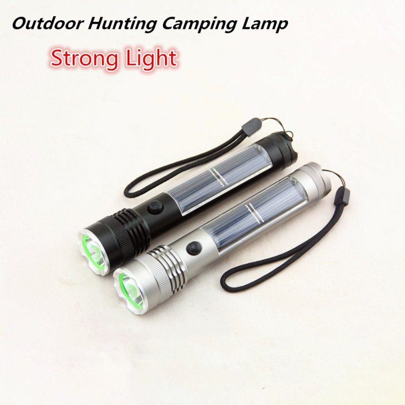 USB Charging Solar Powered LED Strong Light Torch Multifunctional Flashlight  Silver