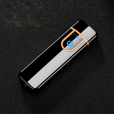 USB Charging Touch Sensing Switch Lighter Windproof Flameless Electronic Cigar Cigarette No gas Electric Lighters black