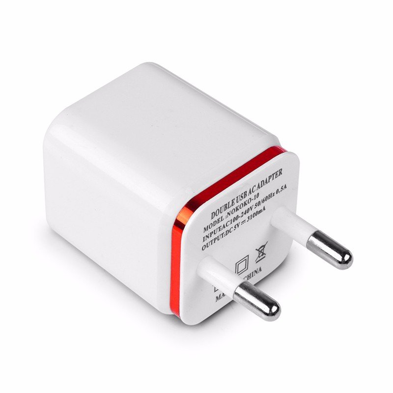 USB Double Wall Fast Charger Adapter 1A 2A 5V for Android / Galaxy / iPhone  red